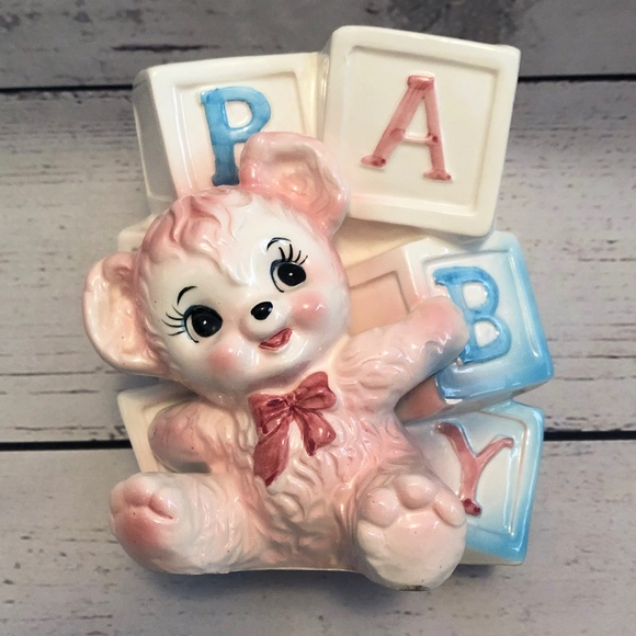 Vintage Other - Vintage Relpo Large Baby Blocks with Bear Planter